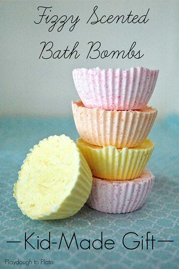 Homemade bath bombs kids can make.