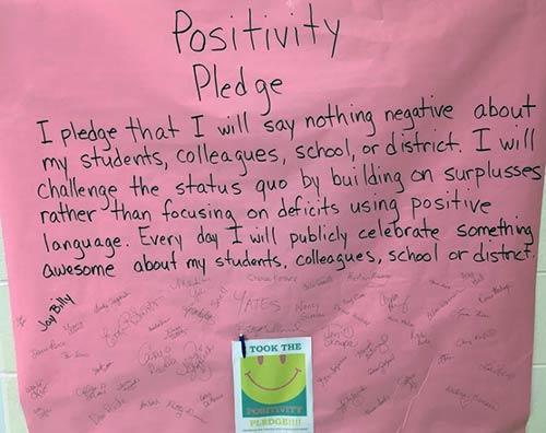 A positivity pledge by staff at Ben Franklin Elementary School
