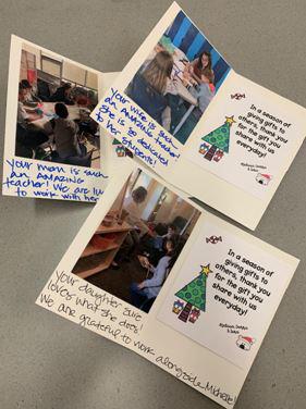 JFK Elementary personalised cards to teachers' loved ones
