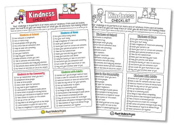 Free Kids Kindness Checklists