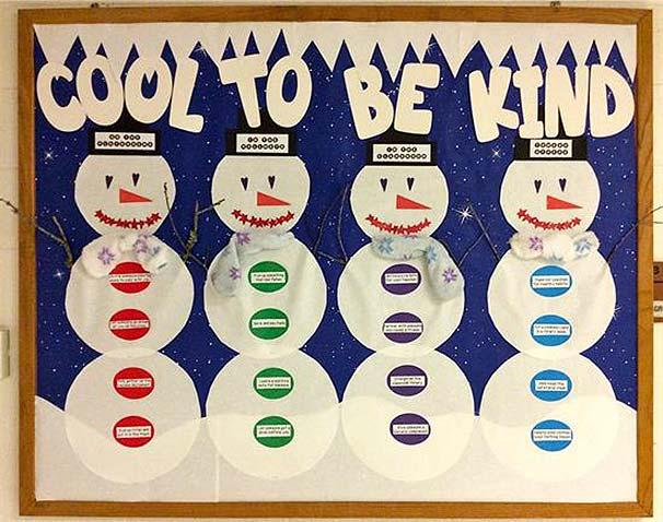Cool to be kind snowman bulletin board