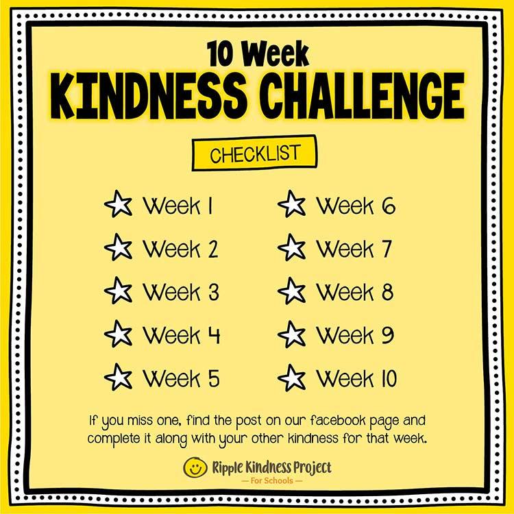 Facebook Kindness Challenge For Kids Checklist